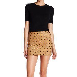 Alice and Olivia Elana Studded Suede Mini Skirt
